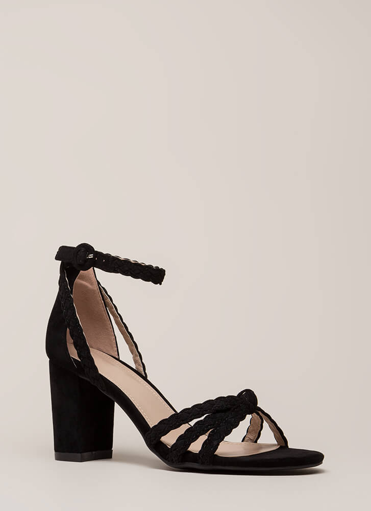 Braided Beauty Strappy Chunky Heels BLACK
