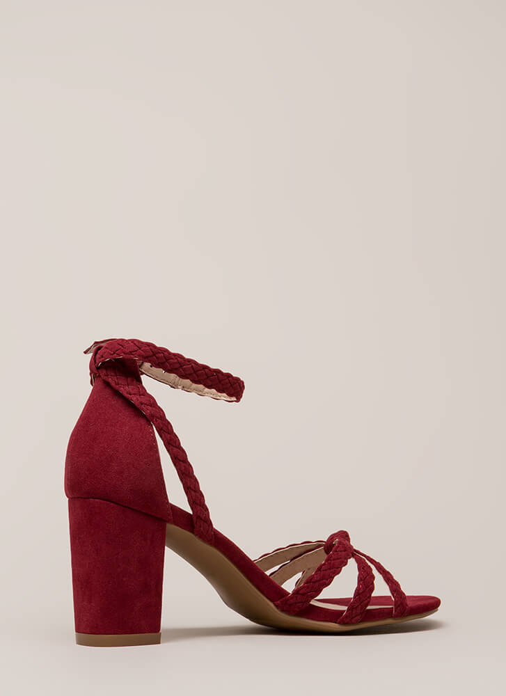 Braided Beauty Strappy Chunky Heels WINE