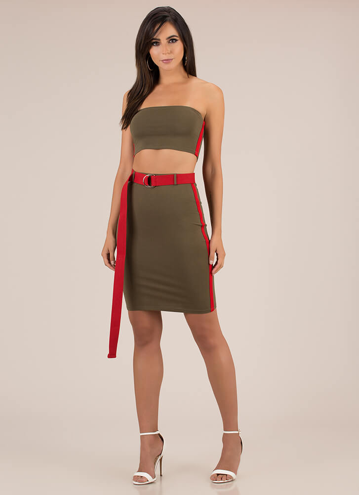 Better Belted Striped Top And Skirt OLIVE