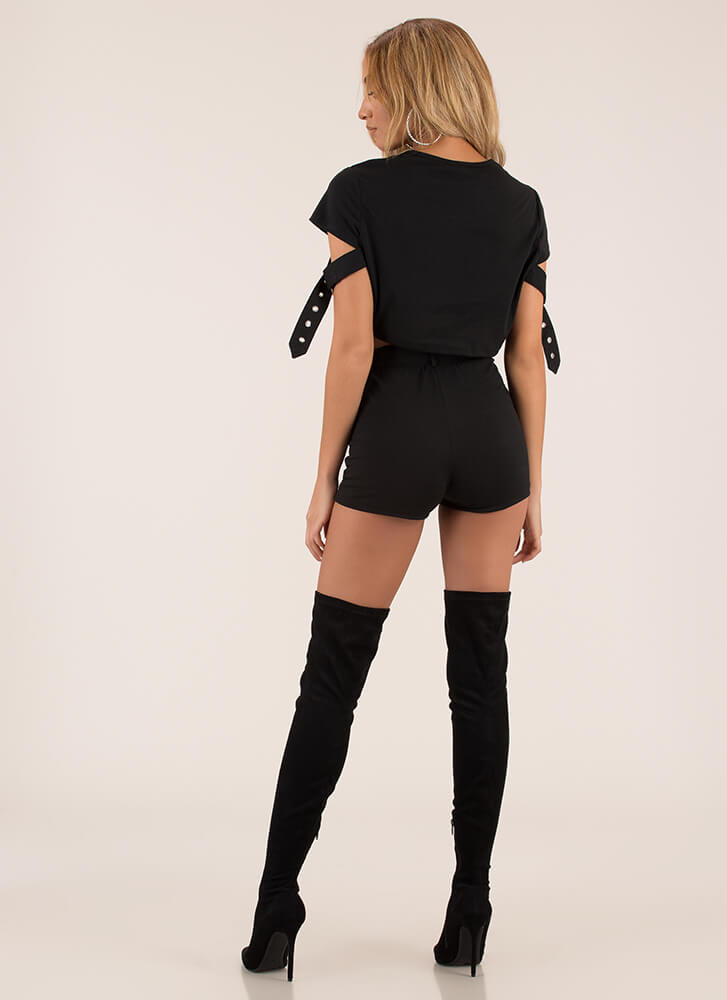 Strappy Place Belted Top And Shorts Set BLACK