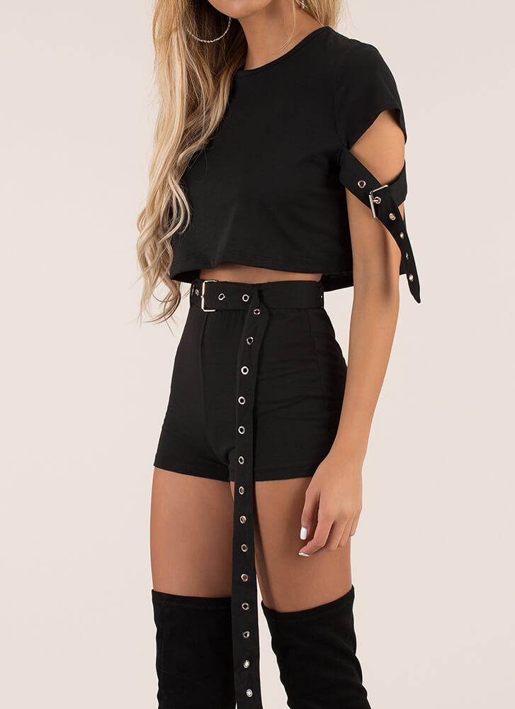 Strappy Place Belted Top And Shorts Set BLACK (You Saved $40)