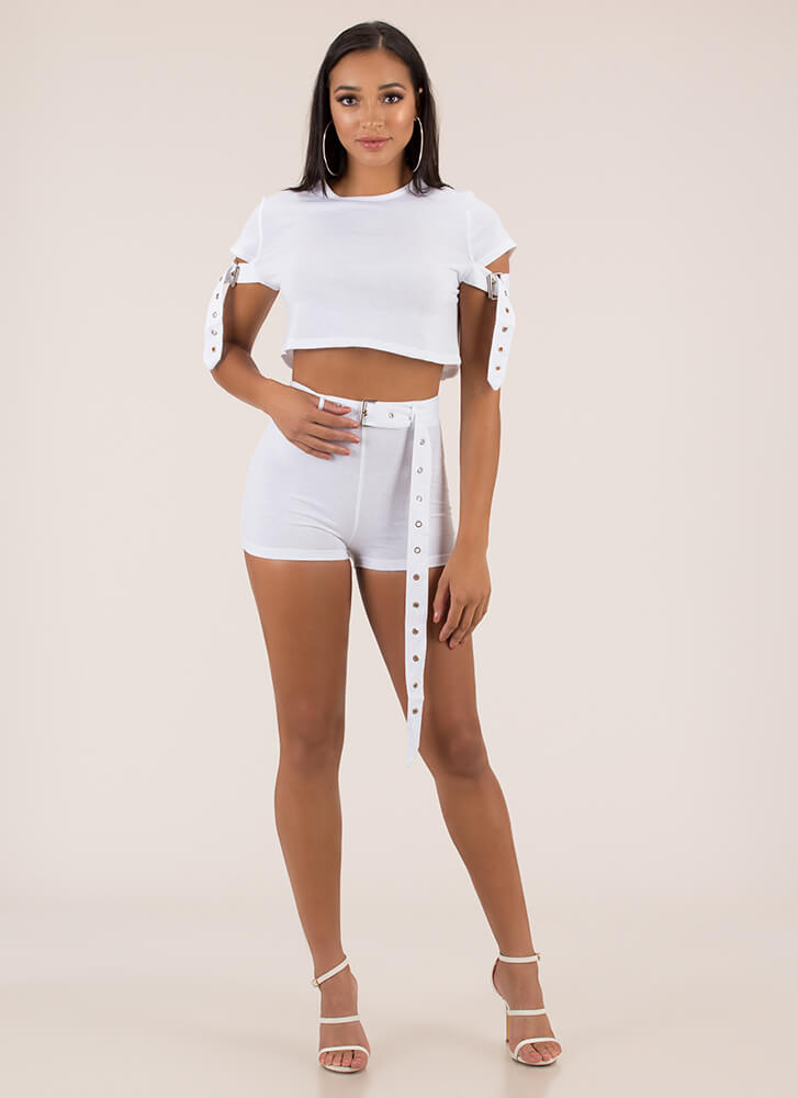 Strappy Place Belted Top And Shorts Set WHITE (Final Sale)