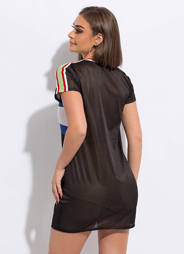 My Game Striped Sports Mesh Shirt Dress BLACK