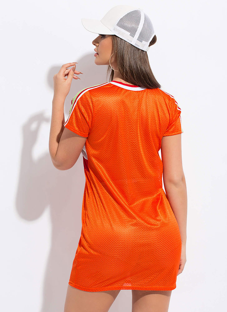 My Game Striped Sports Mesh Shirt Dress ORANGE