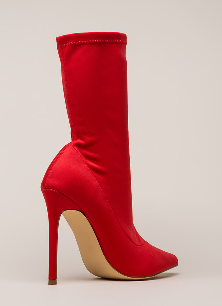 Brilliant Idea Pointy Sock Booties RED