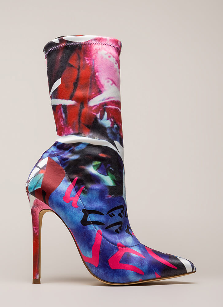 Abstract Idea Pointy Sock Booties MULTI