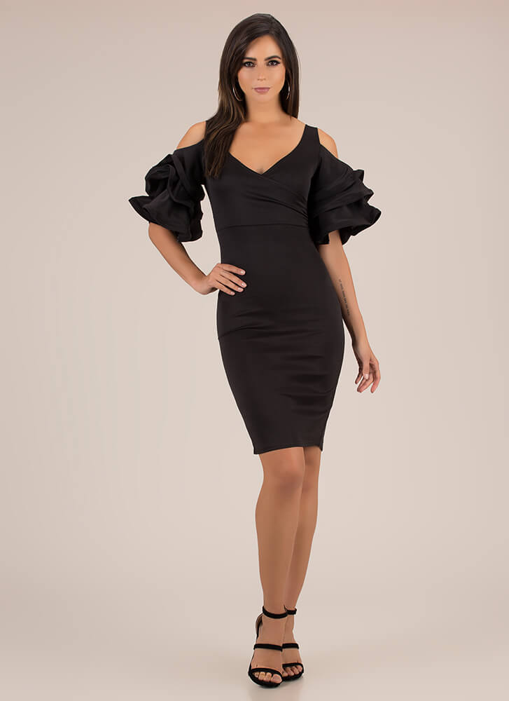 Clear As A Bell Ruffle Sleeve Midi Dress BLACK