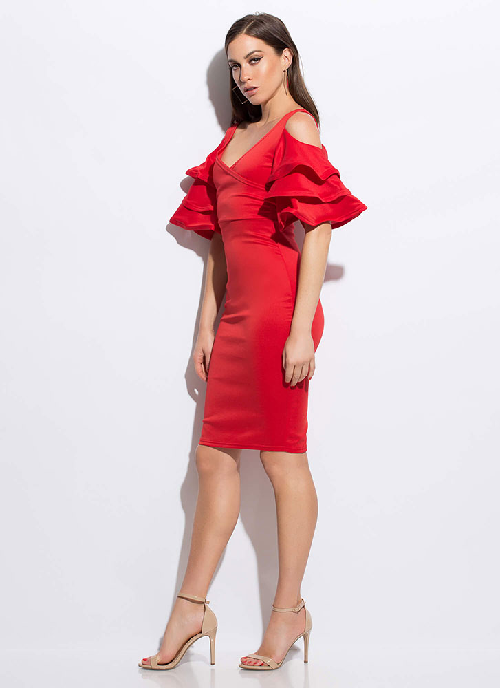 Clear As A Bell Ruffle Sleeve Midi Dress RED
