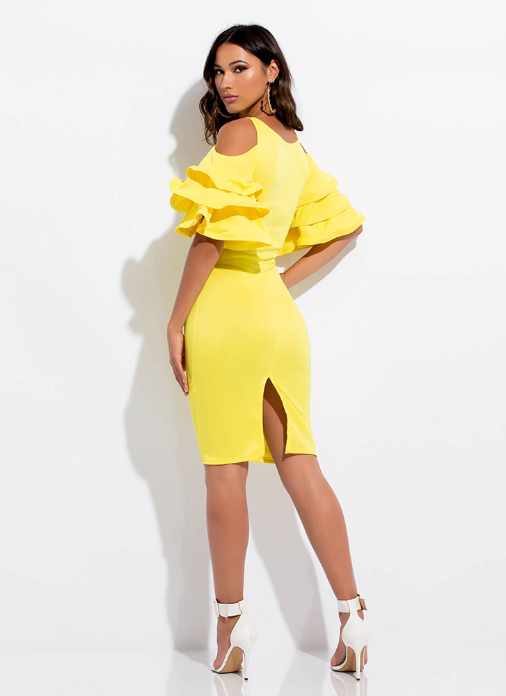 Clear As A Bell Ruffle Sleeve Midi Dress YELLOW