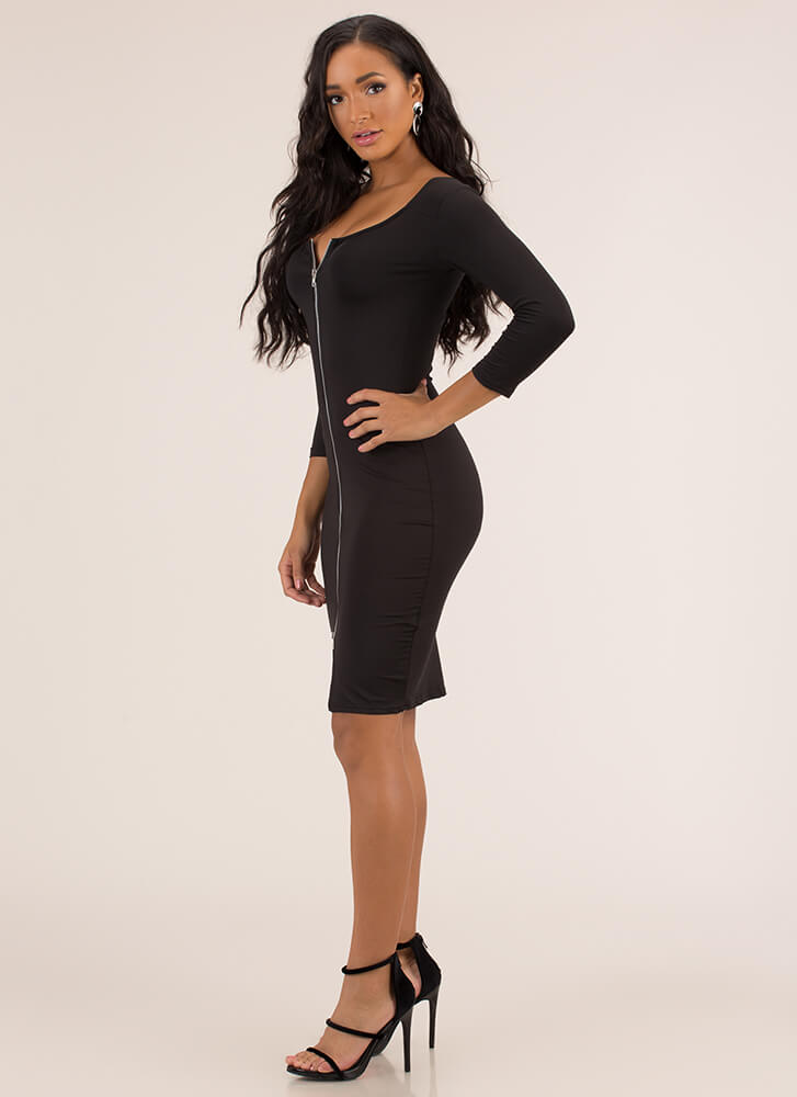 Every Which Way Zip-Front Midi Dress BLACK