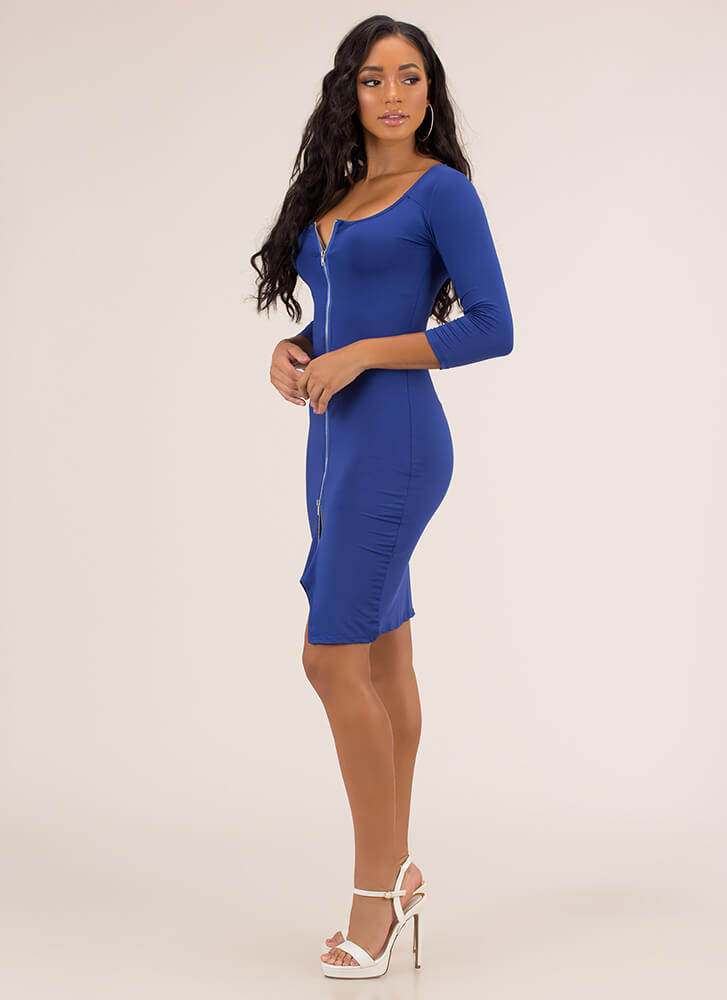 Every Which Way Zip-Front Midi Dress ROYAL