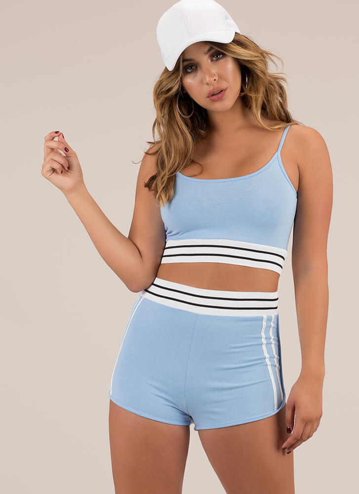 Sports Bar Striped Top And Shorts Set BLUE