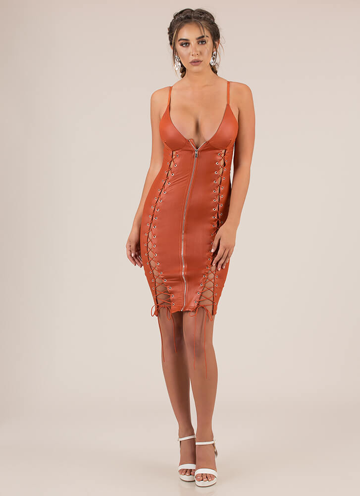 Strings And Zips Excite Me Midi Dress RUST