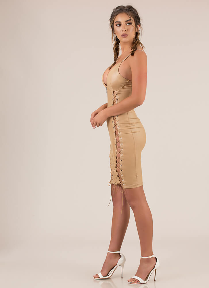 Strings And Zips Excite Me Midi Dress TAN