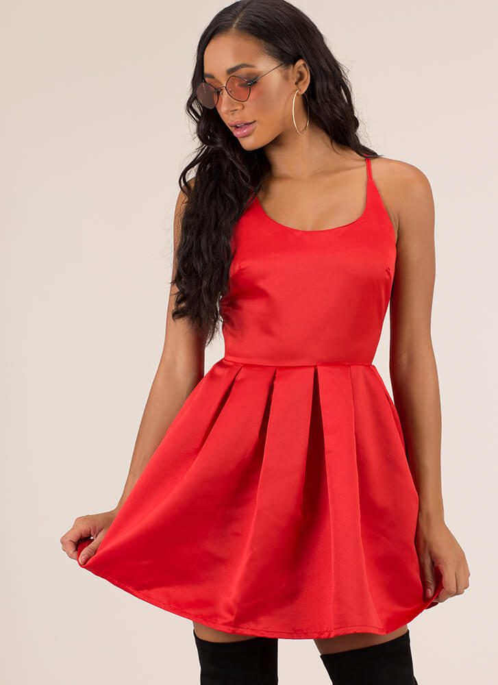 Party Girl Strappy Flared Minidress RED