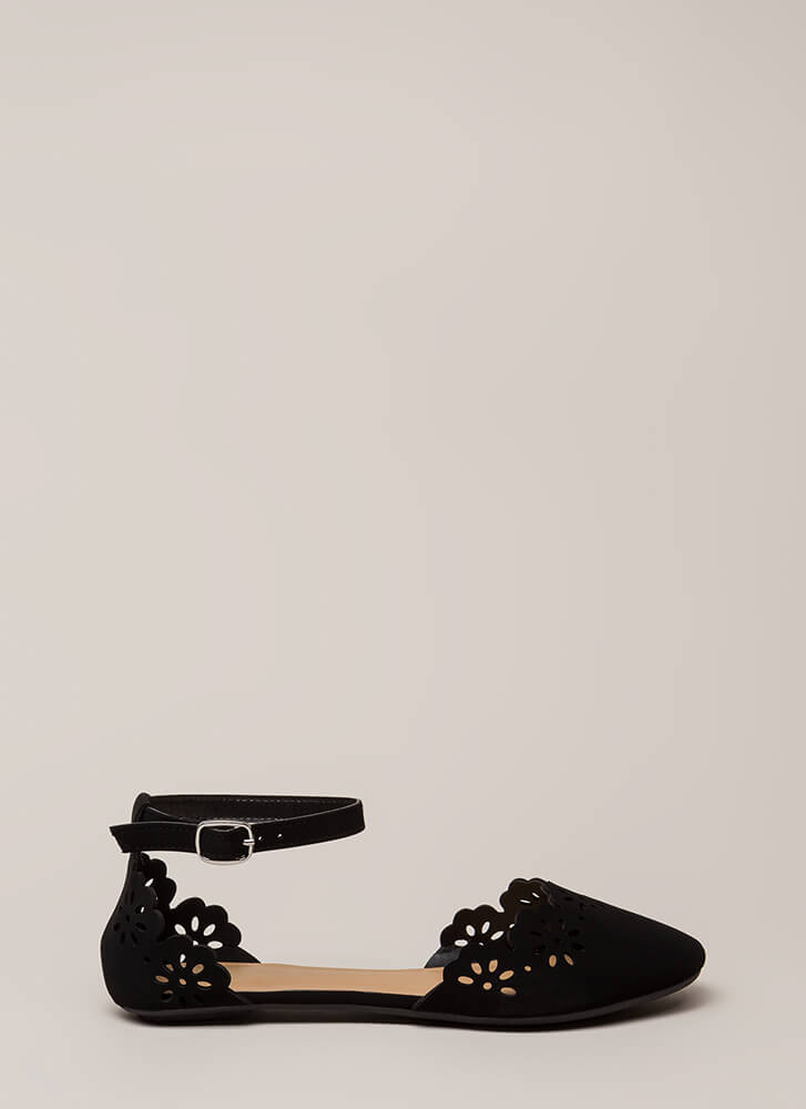 Floral Fascination Ankle Strap Flats BLACK