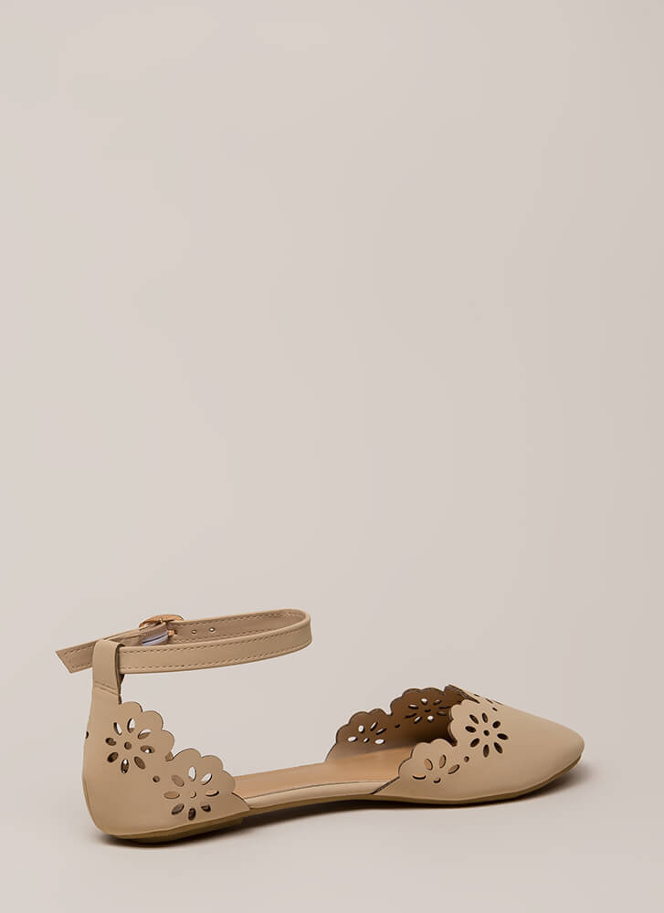 Floral Fascination Ankle Strap Flats NUDE