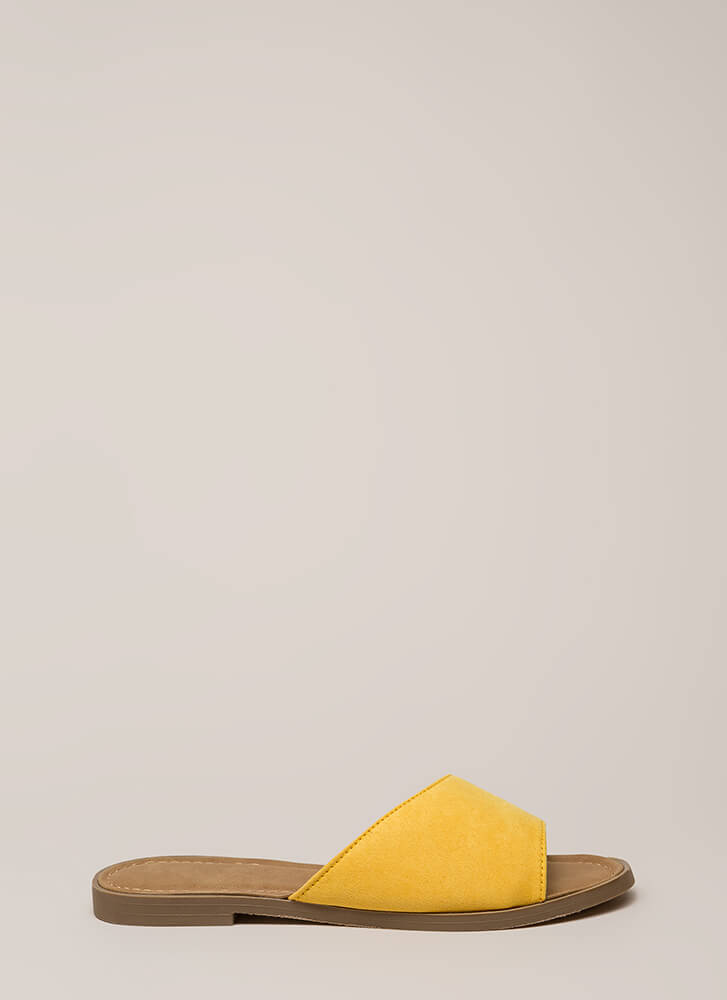 Curve Your Appetite Slide Sandals YELLOW