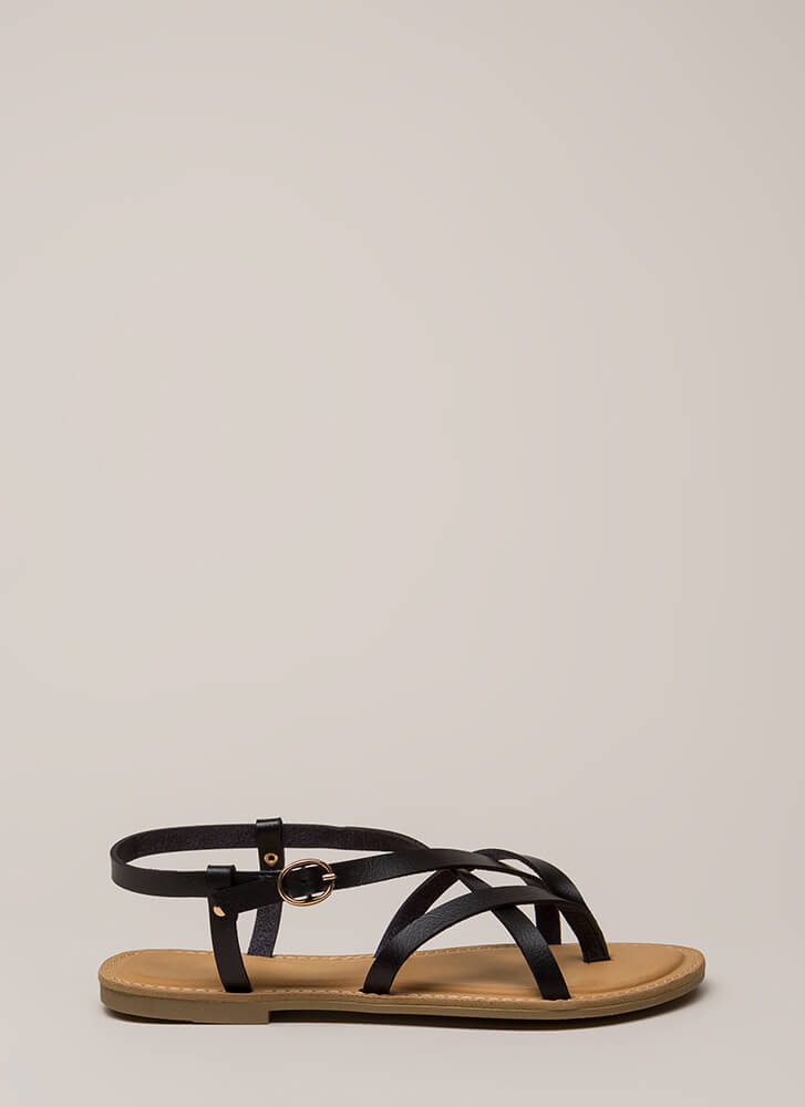 You Make Me So Strappy Caged Sandals BLACK