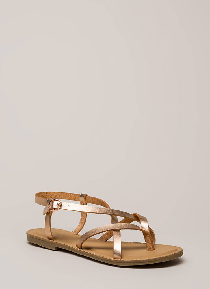 You Make Me So Strappy Caged Sandals ROSEGOLD