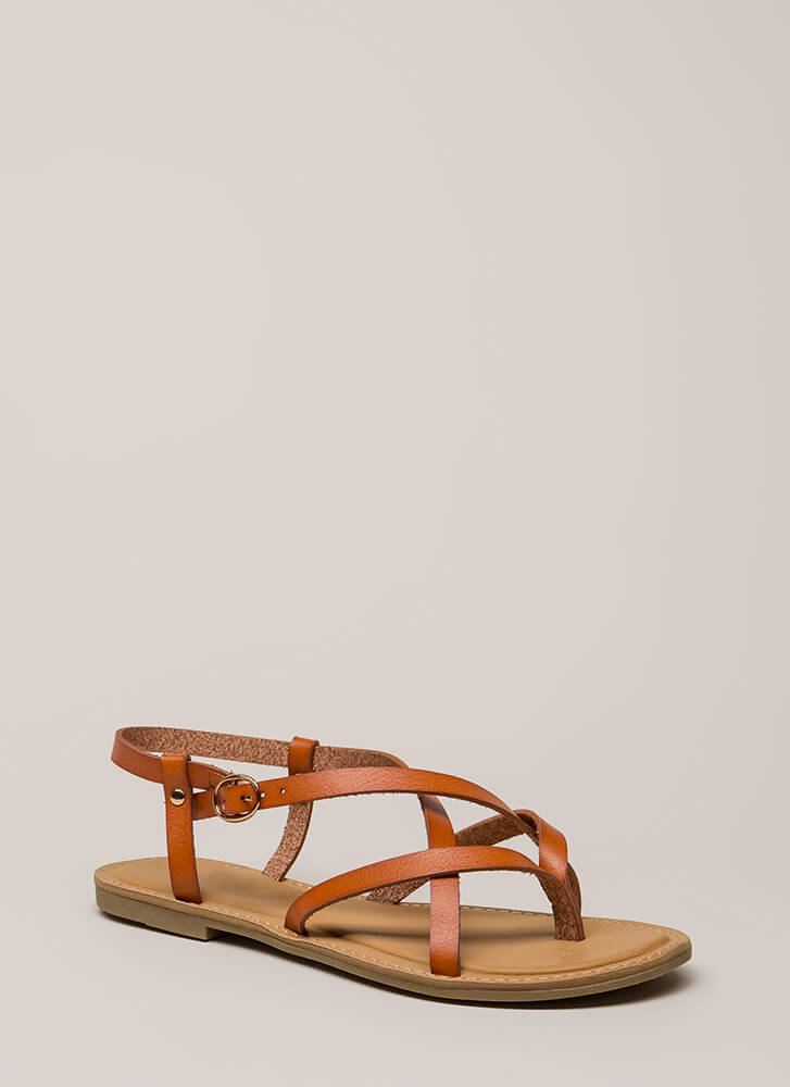 You Make Me So Strappy Caged Sandals TAN