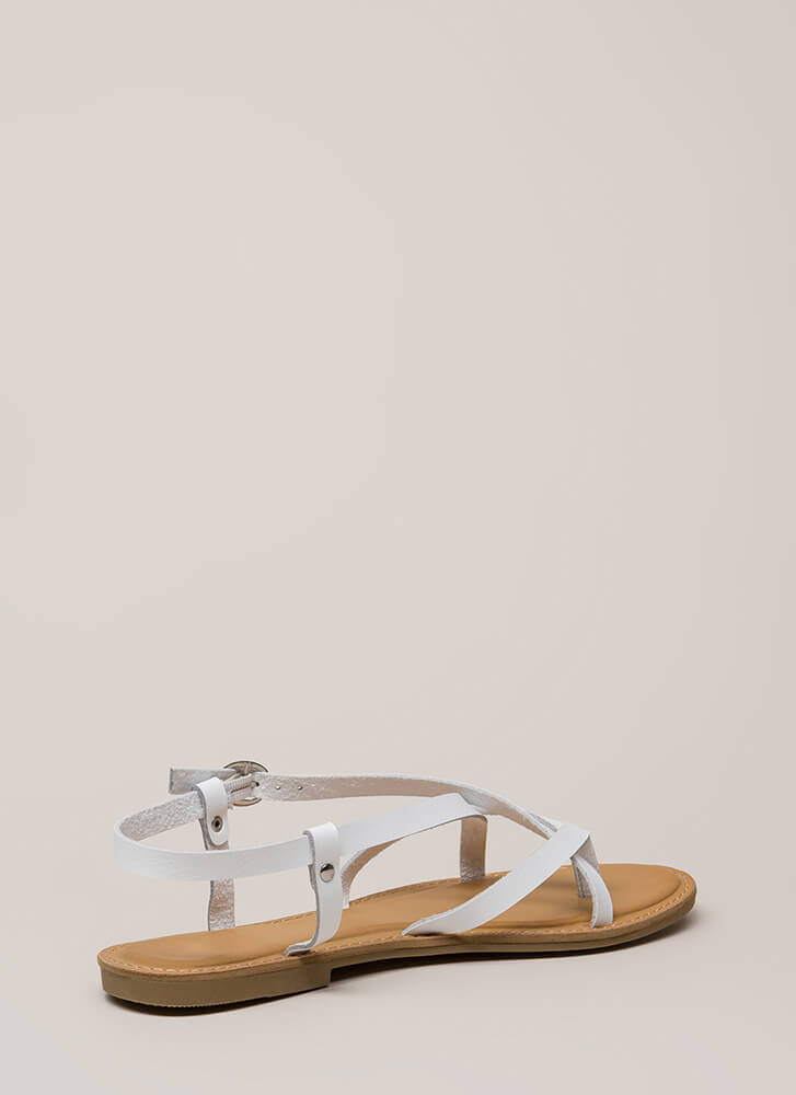 You Make Me So Strappy Caged Sandals WHITE