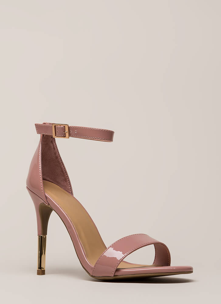 Just The Tip Strappy Faux Patent Heels BLUSH
