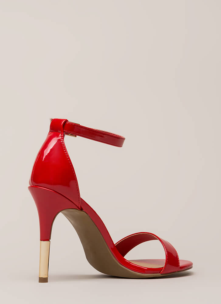Just The Tip Strappy Faux Patent Heels RED