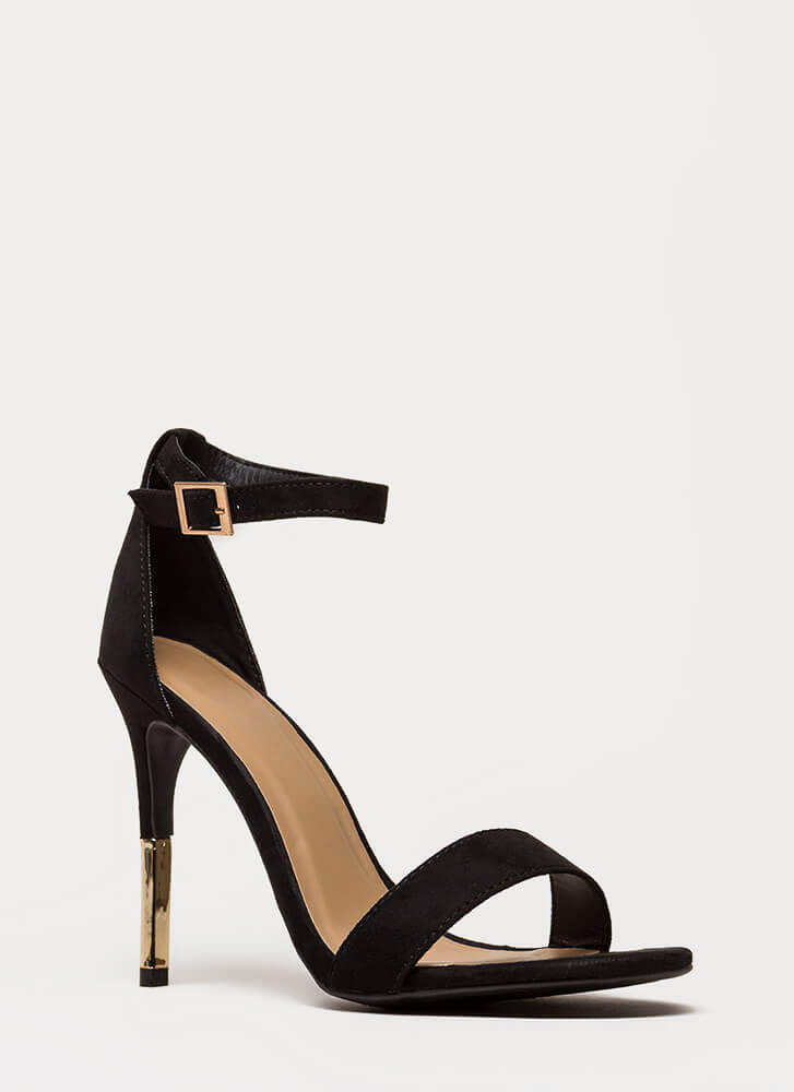 Just The Tip Strappy Faux Suede Heels BLACK