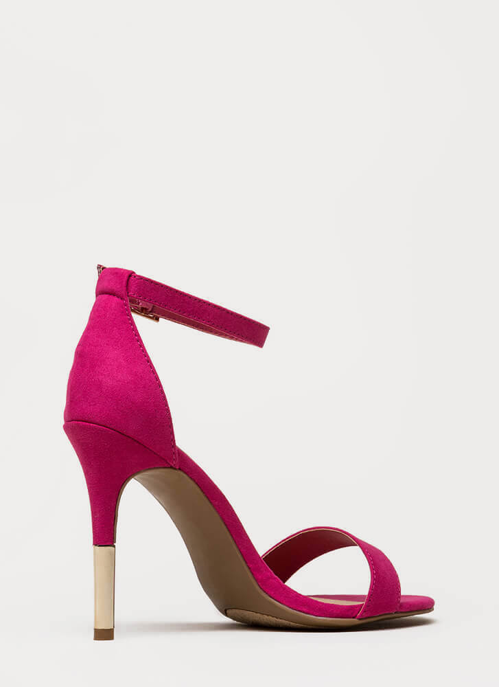 Just The Tip Strappy Faux Suede Heels FUCHSIA