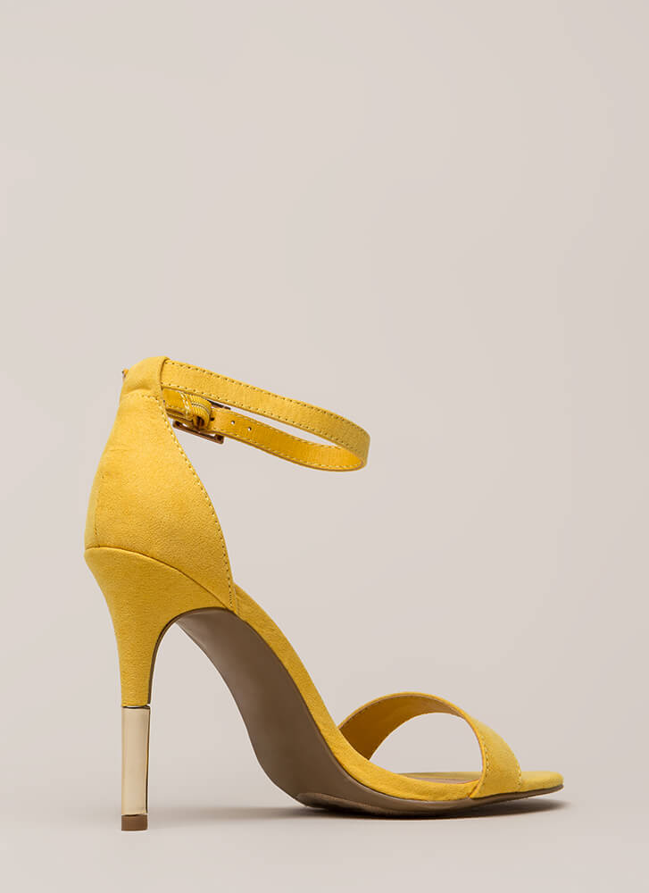 Just The Tip Strappy Faux Suede Heels YELLOW