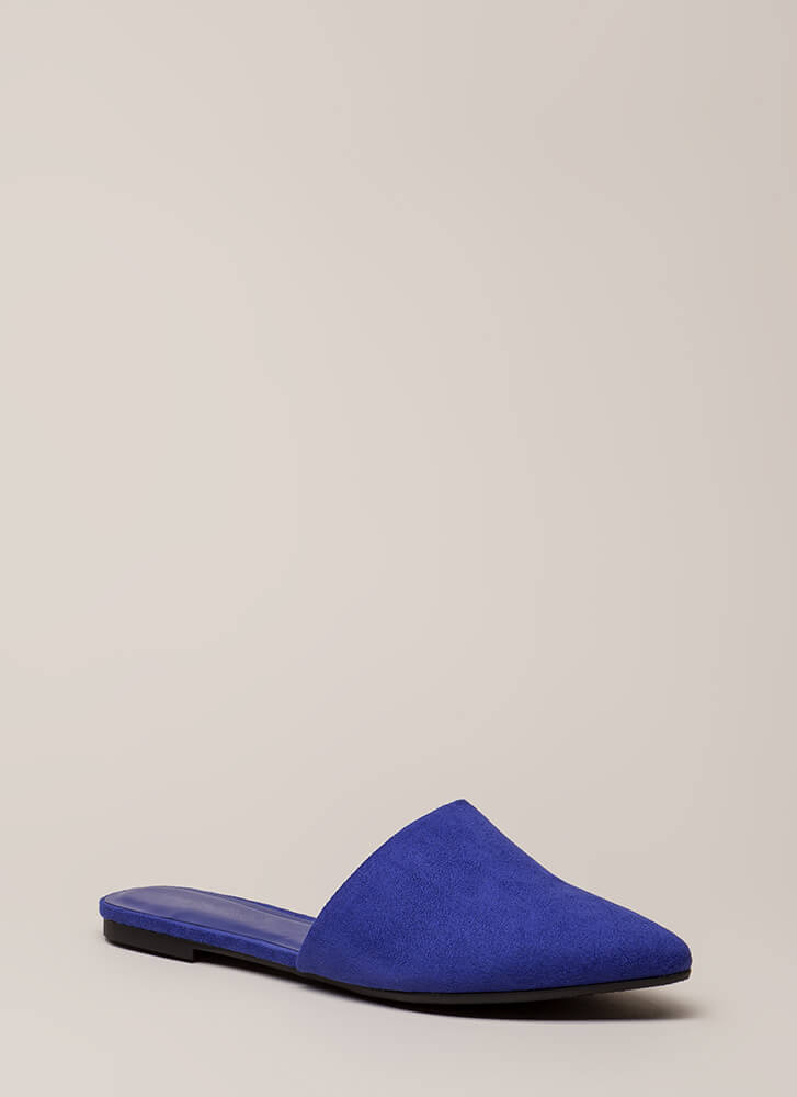 Slipping Away Faux Suede Mule Flats ELECTRICBLUE