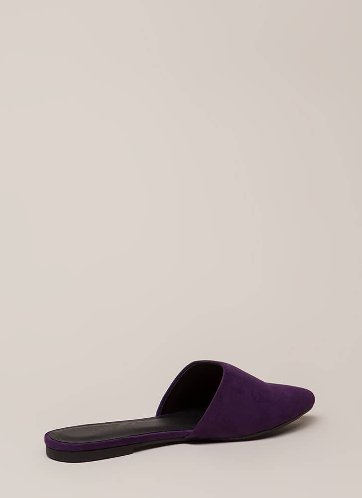 Slipping Away Faux Suede Mule Flats GRAPE