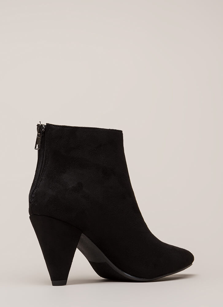 Feel The Thunder Cone Heel Booties BLACK