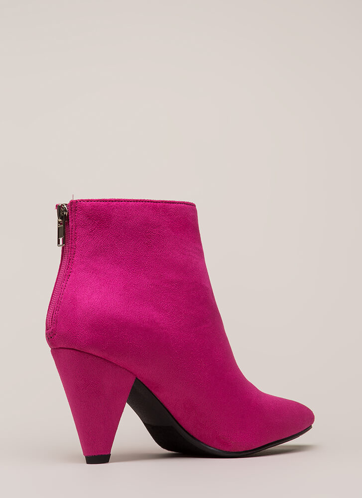 Steal The Thunder Cone Heel Booties HOTPINK