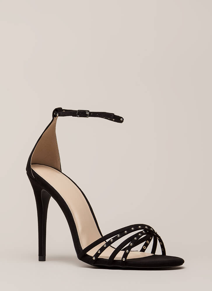 Strappy Times Studded Faux Suede Heels BLACK