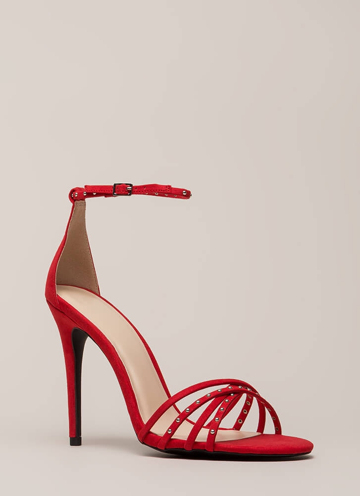 Strappy Times Studded Faux Suede Heels RED