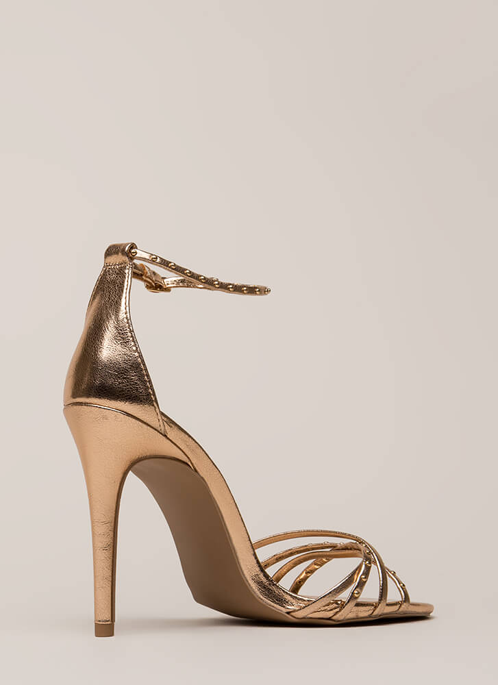 Strappy Times Studded Metallic Heels ROSEGOLD (You Saved $17)