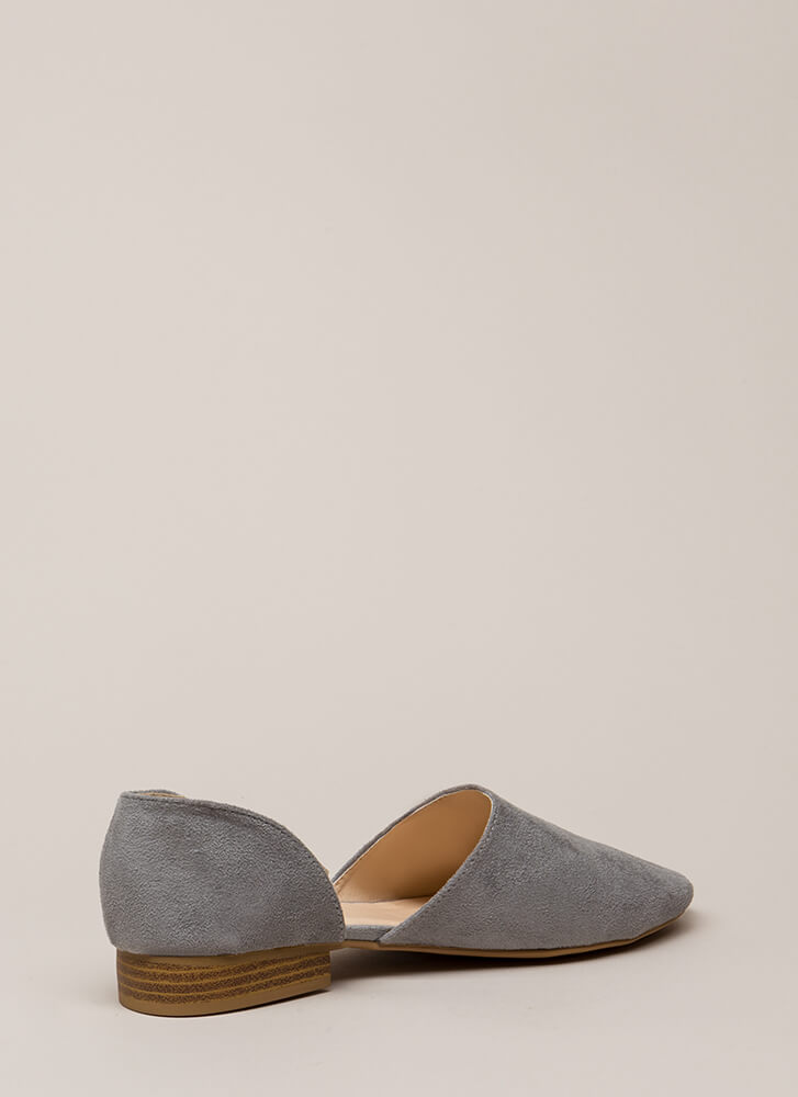 Playing Both Sides Faux Suede Flats ASHGREY