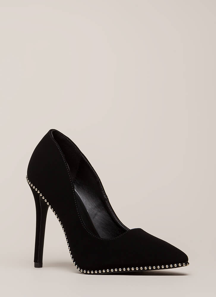 Live On The Edge Pointy Studded Pumps BLACK