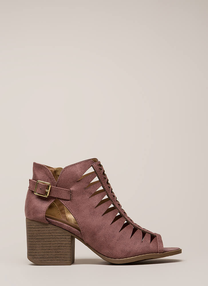 Road Trip Caged Cut-Out Block Heels ROSETAUPE