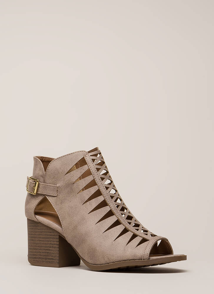 Road Trip Caged Cut-Out Block Heels TAUPE