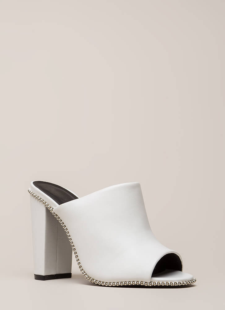 My Stud Chunky Faux Leather Mule Heels WHITE