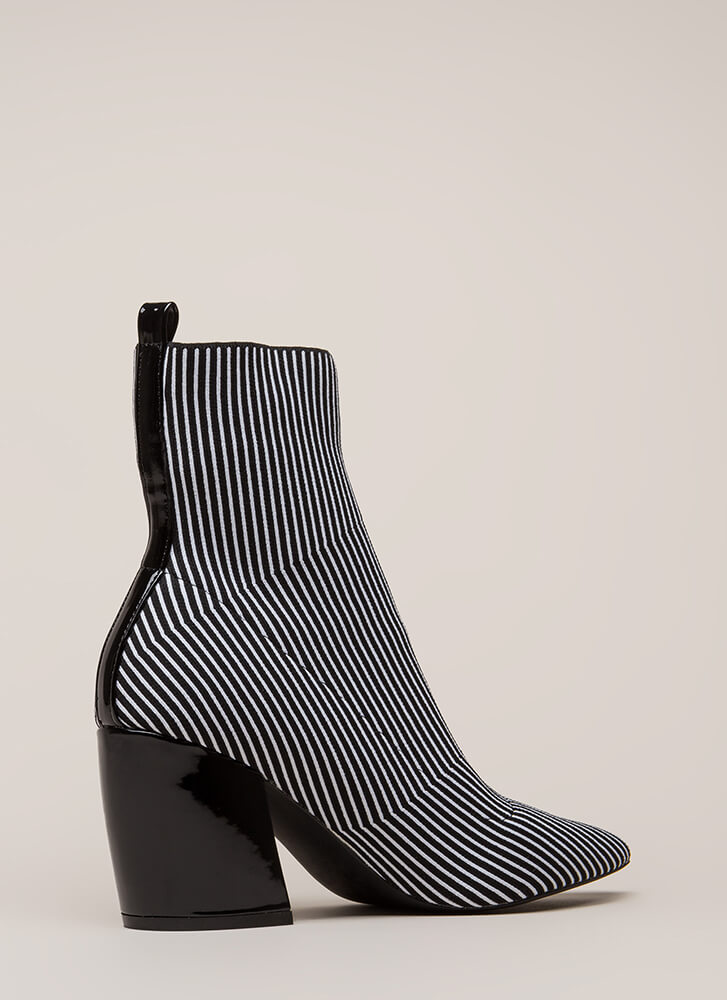 Line Starts Here Knit Pinstriped Booties BLACKWHITE