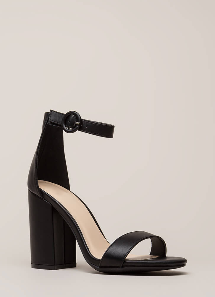 New Favorite Chunky Faux Leather Heels BLACK