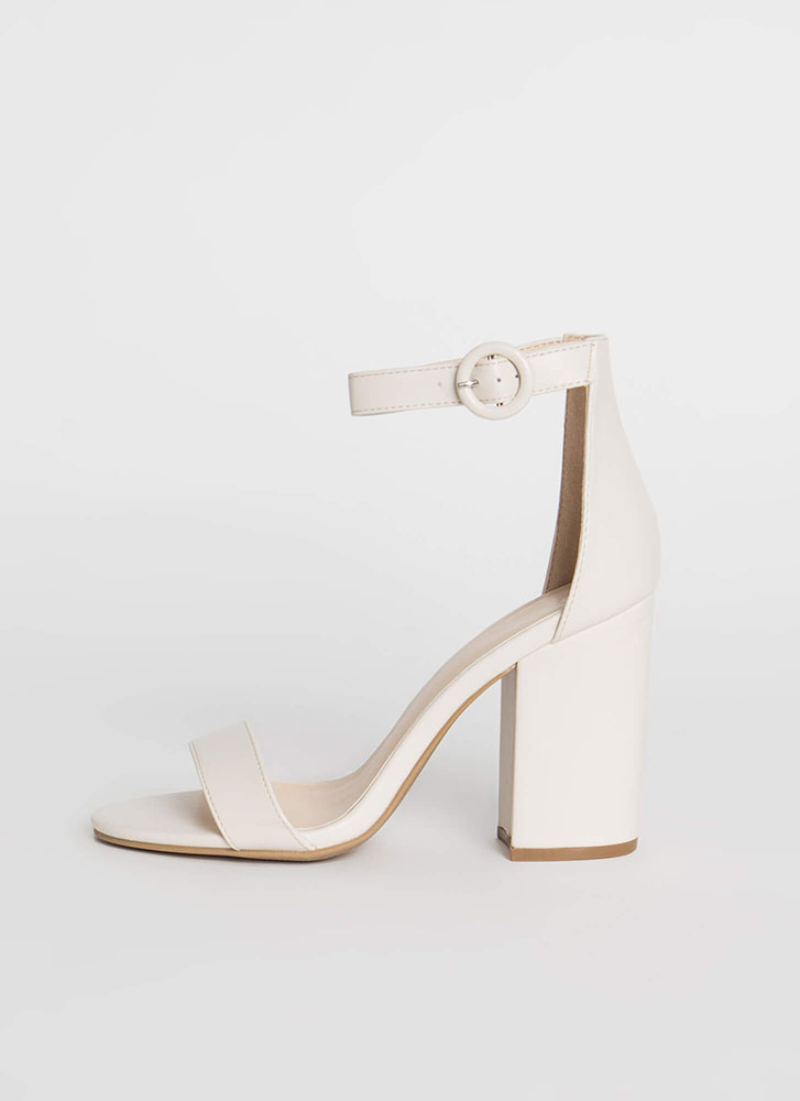 New Favorite Chunky Faux Leather Heels OFFWHITE