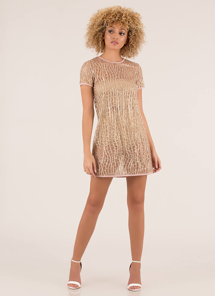 Glitter The Night Away Sheer Shift Dress CHAMPAGNE