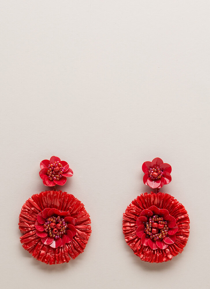 Come Into Bloom Beaded Flower Earrings RED