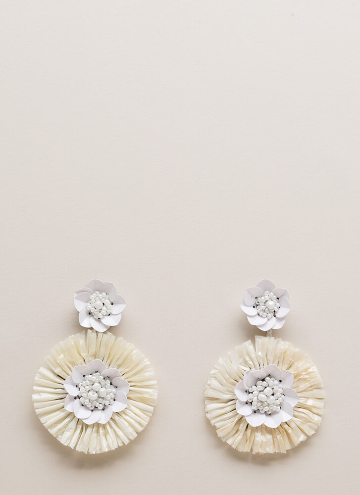 Come Into Bloom Beaded Flower Earrings WHITE