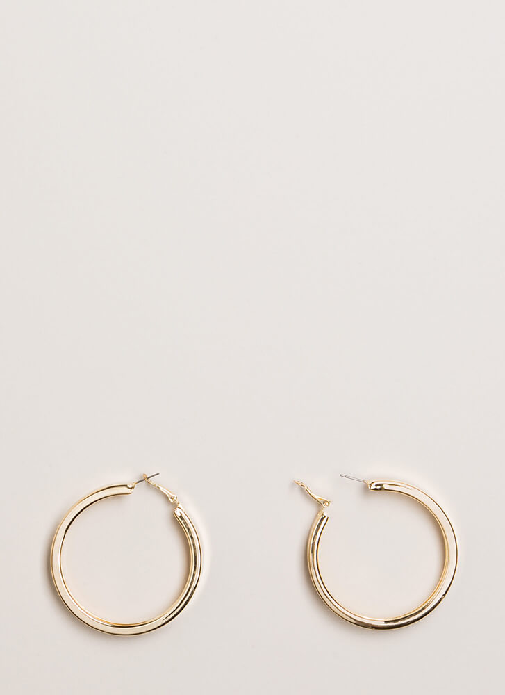 Getting Thick Hoop Earrings GOLD (You Saved $4)
